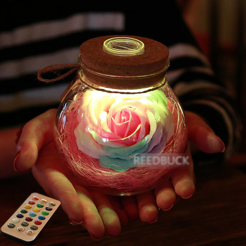Led Romantic Rose Flower Night Light Lucky Bottle RGB Dimmer Lamp With 16 Color Remote Holiday Gift For Lover Girl Bedroom Decor (4)
