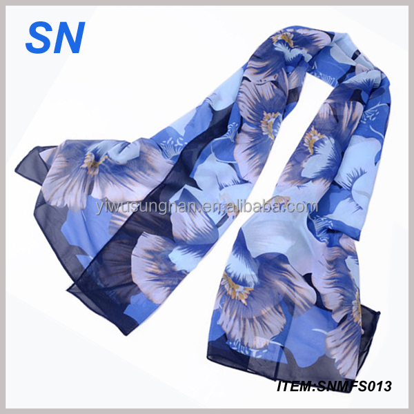 Fashion Lady Wholesale Winter Printing Chiffon Scarf