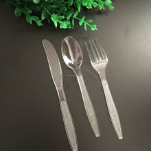 Direct factory wholesale plastic cutlery disposable black/clear spoon fork knife set
