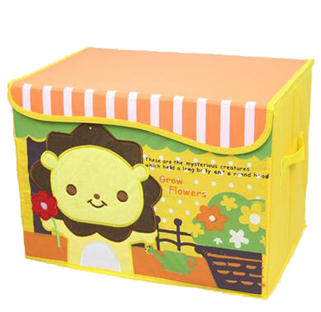 WEISHY Environmental Protection Embroidery Storage Oxford Cloth Toys And Baby Clothing Covered Storage Box (yellow lion)
