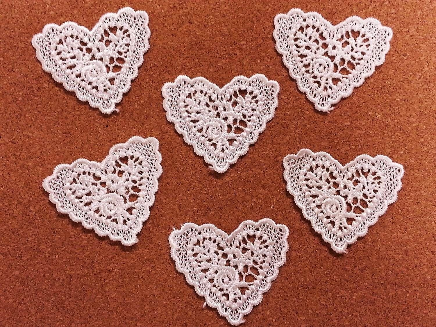 CraftbuddyUS LM8- 10 White Vintage Lace Applique Guipure, Sew On Fabric Heart Crochet Motifs