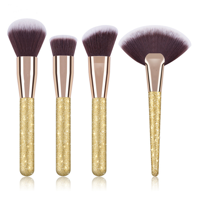Professionelle Weiß Marmor Make-Up Pinsel Set 4 Stück mit Foundation Kosmetik Pinsel