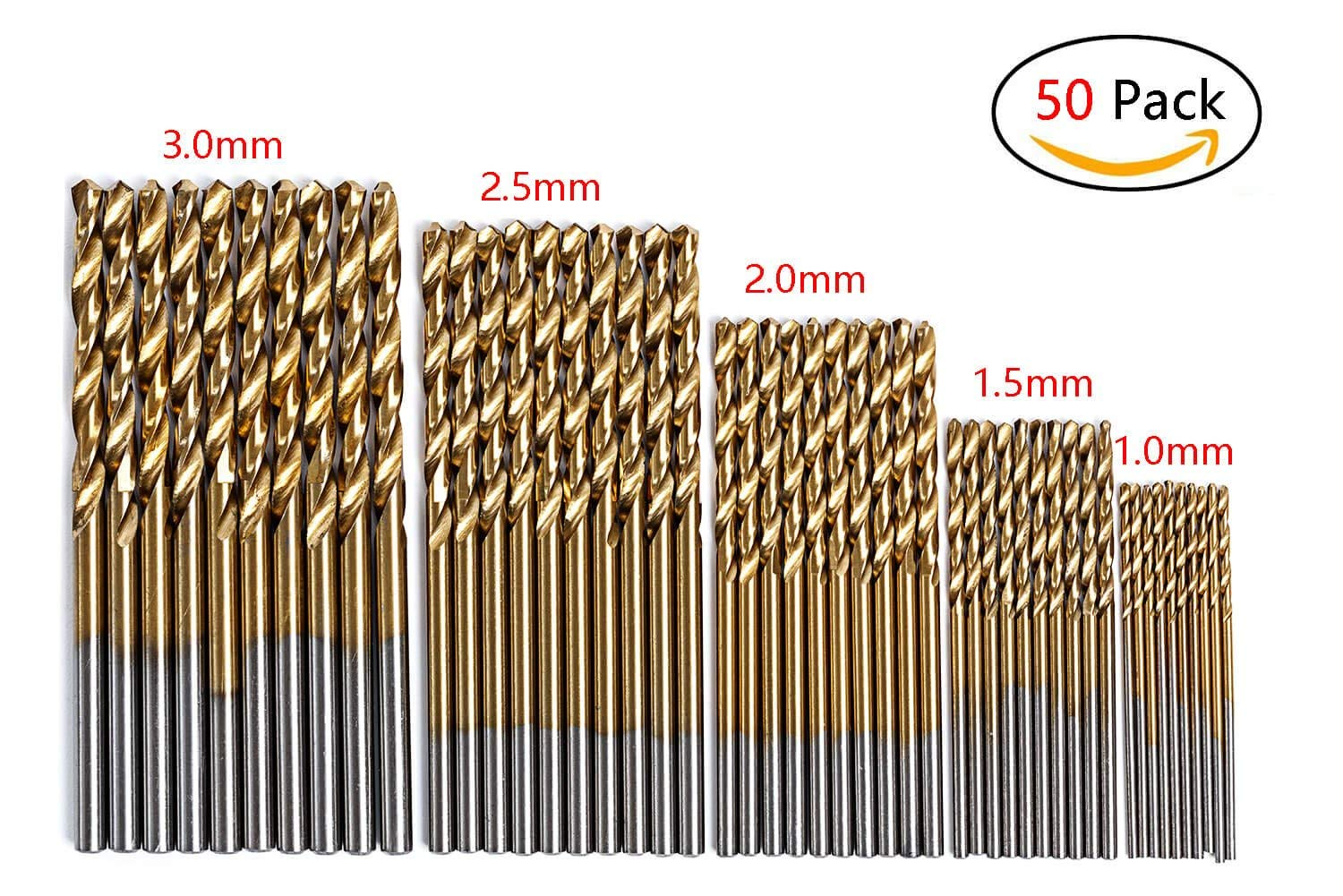 50Pcs High Speed Steel Twist Drill Bit Set - Micro Precision 1/1.5/2/2.5/3mm 5 Sizes Titanium Coated Split Point Boring Bit Tools for Wood/Plastic/ Soft Metal by NIDAYE