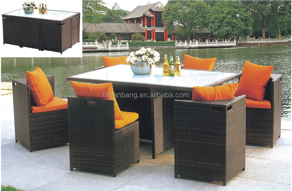 Outdoor wicker patio rattan cube garden 11 piece dining for Jardin 8 piece dining set