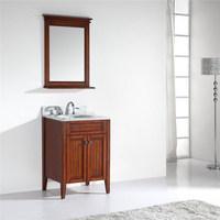Antique Solid Wood Single Sink Bathroom Vanity with Marble Top