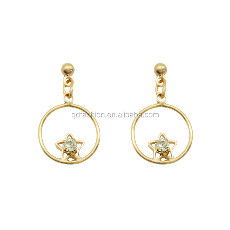 wholesale round hoop start cz cubic zircon pendant gold earrings designs for girls