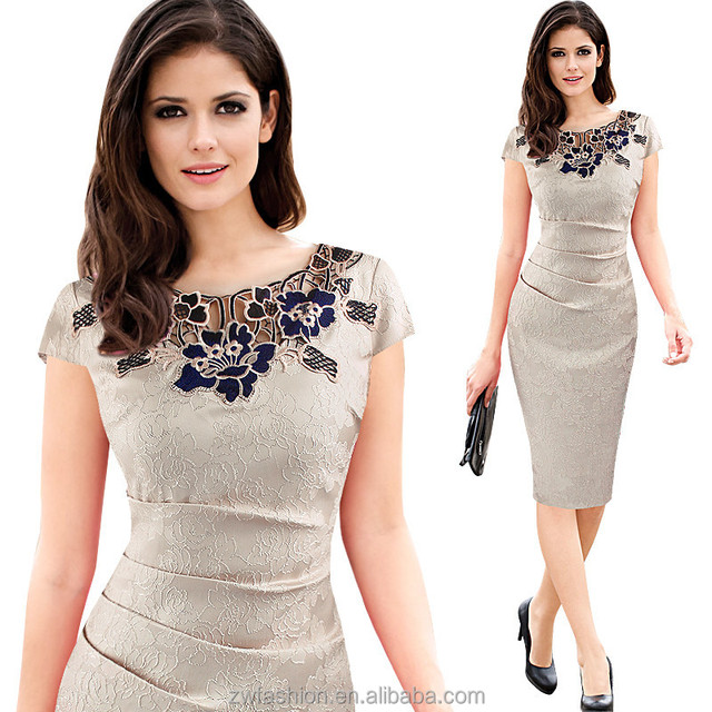 2018 New Design Hot Sale Short Sleeve Women Work Clothing Rose Lace Office Pencil Dress Buy Pencil Dress Office Pencil Dress Work Dress Product On