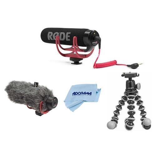 Rode Microphones VideoMic GO Lightweight On-Camera Microphone - Bundle With Rode DeadCat GO Artificial Fur Wind Shield, Joby GorillaPod SLR-Zoom Mini Tabletop Tripod, Microfiber Cloth