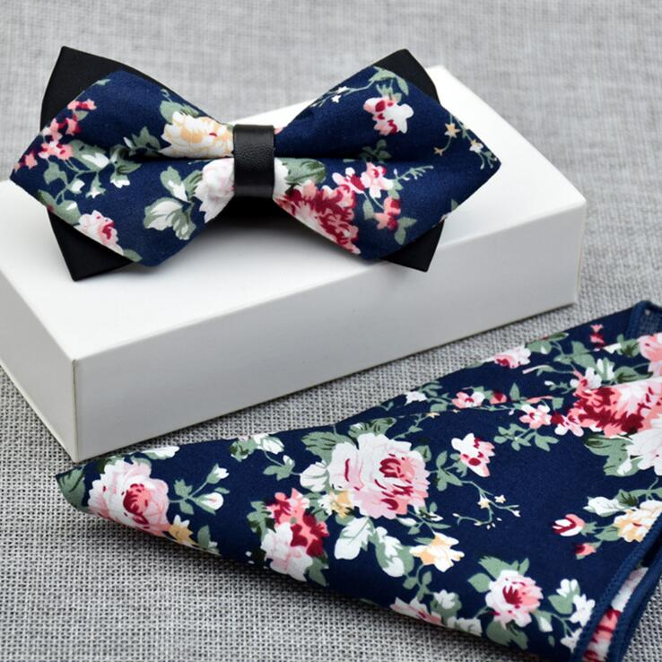 100% Cotton Floral Men's Bow Tie & Pocket Square Set