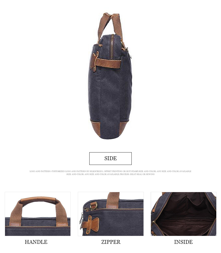 2019 Wholesale custom high quality tote canvas laptop briefcase bag
