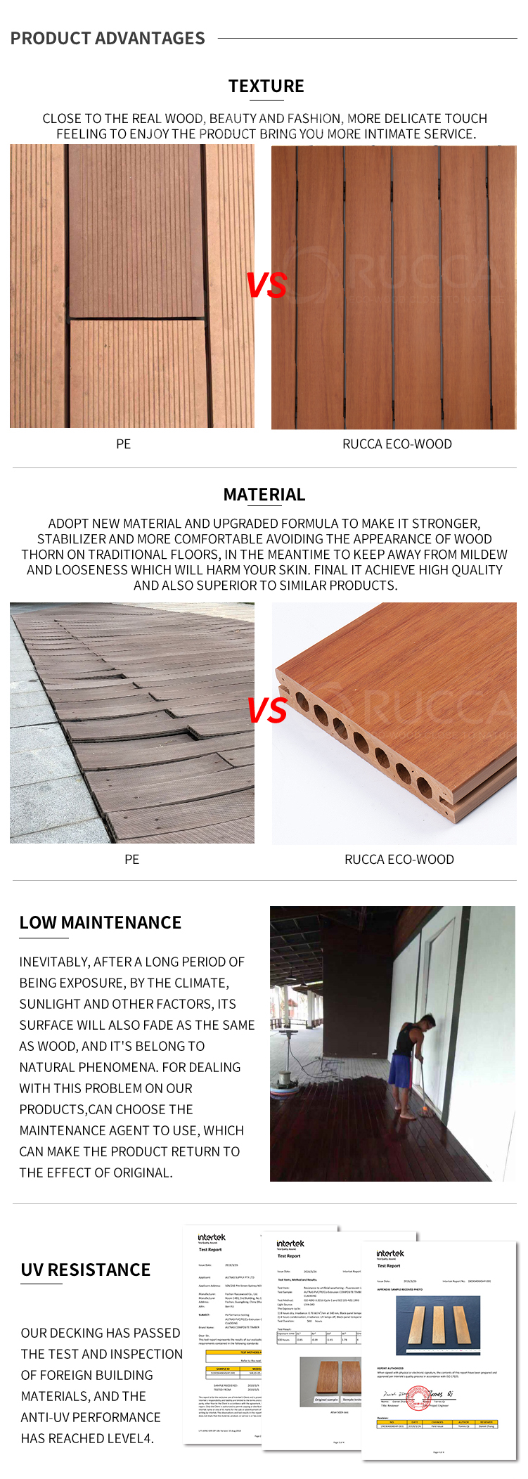 Rucca New outdoor 140*25 wood plastic composite decking with recycled building materials