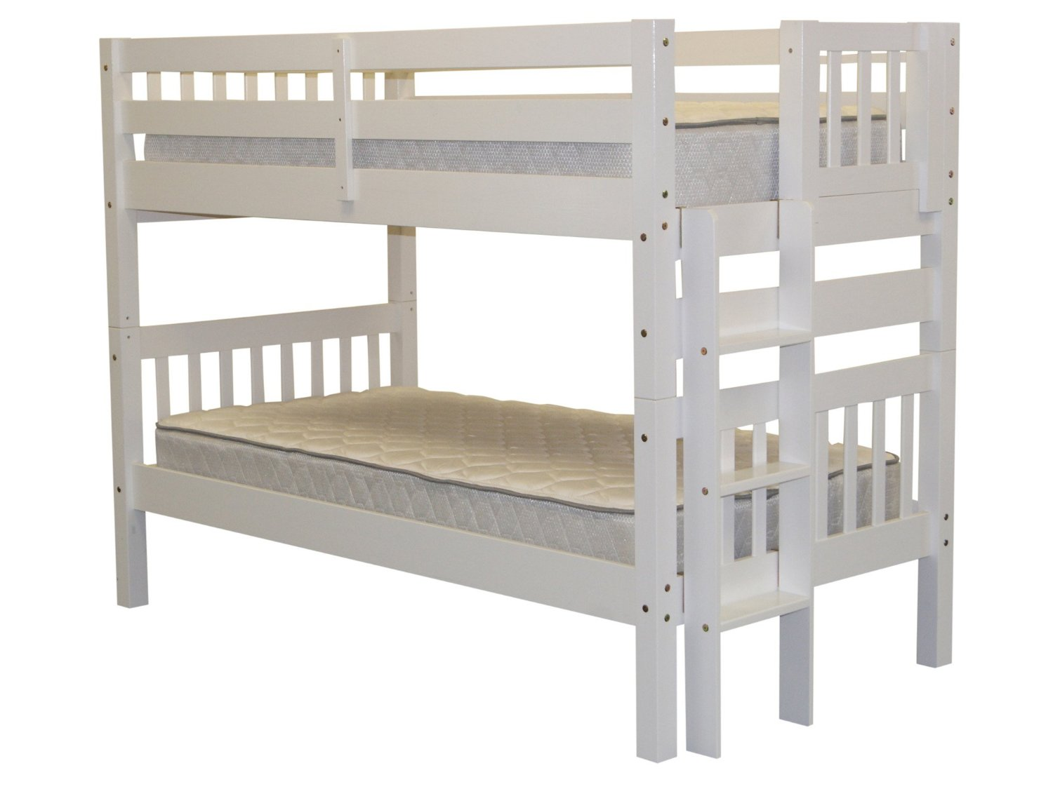 Bedz King Bunk Beds Twin over Twin Mission Style with End Ladder, White