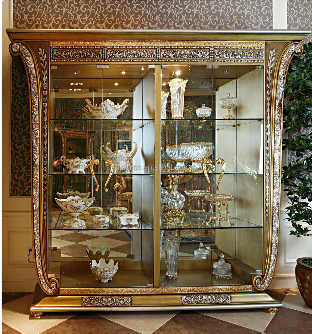 Luxury French Baroque Style Golden Four Door Glass Display Cabinet/  Gorgeous Home Decorative Cupboard Showcase