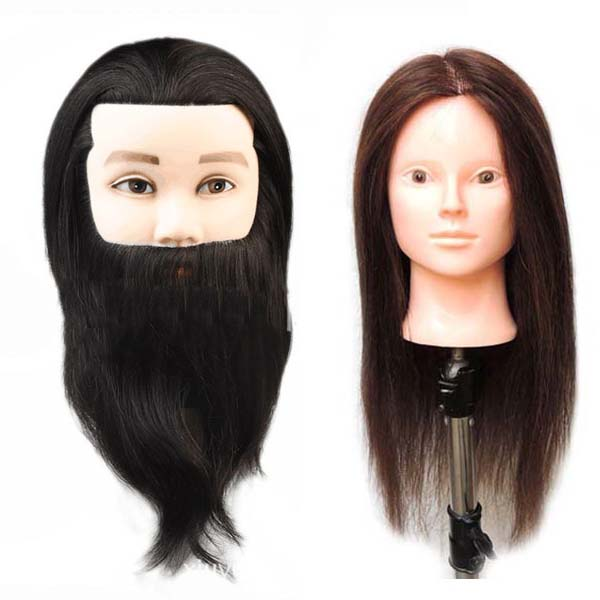 100 human male female hair training mannequin head with hair on sale