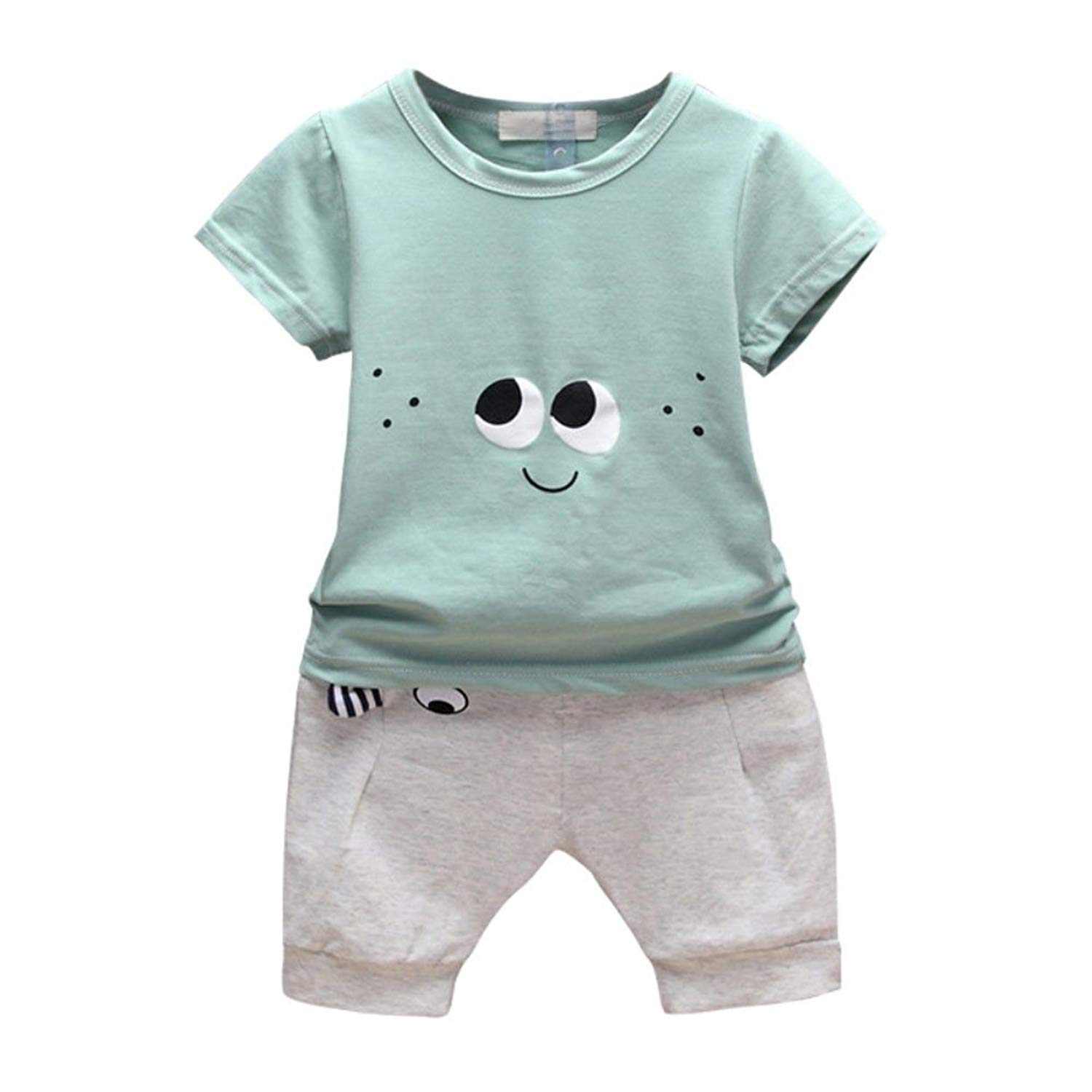 23f24679795 Get Quotations · MiyaSudy Toddler Baby Boy Clothes Summer Sets T-Shirt Tops  + Short Fashion Outfits For