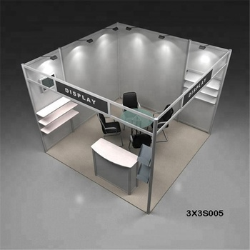 Exhibition Booth Table : Aluminum exhibition booths with lights brochure boxes slatwall