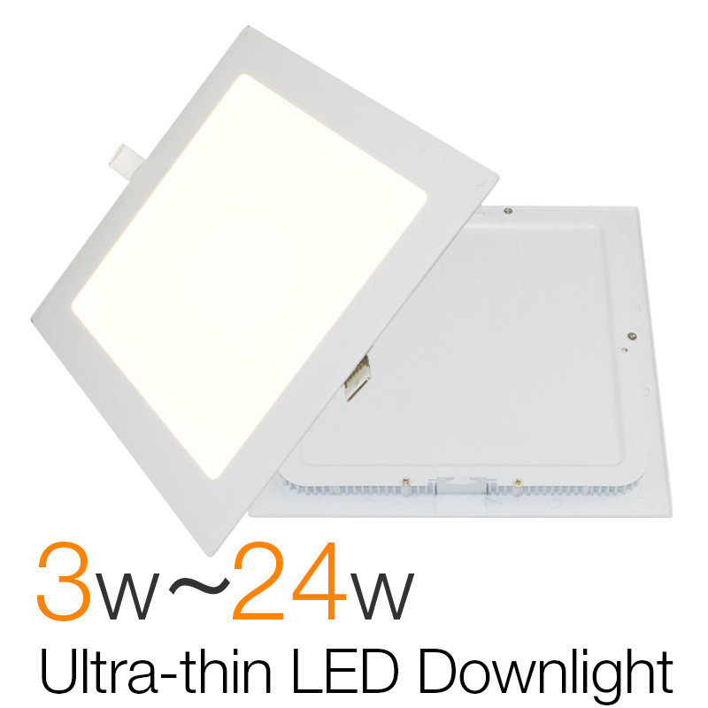 18w Led Panel Light Flat Ultra Thin Led Panel Downlight: Ultra Thin Square LED Downlight Slim Panel 3W 6W 9W 12W