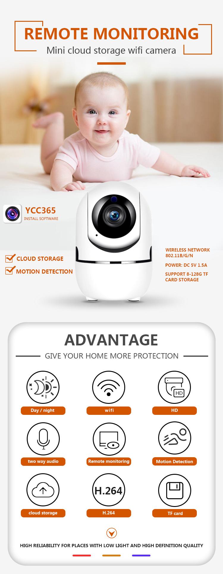 YCC365 Plus APP auto tracking HD 720P indoor Fixed WiFi IP Camera