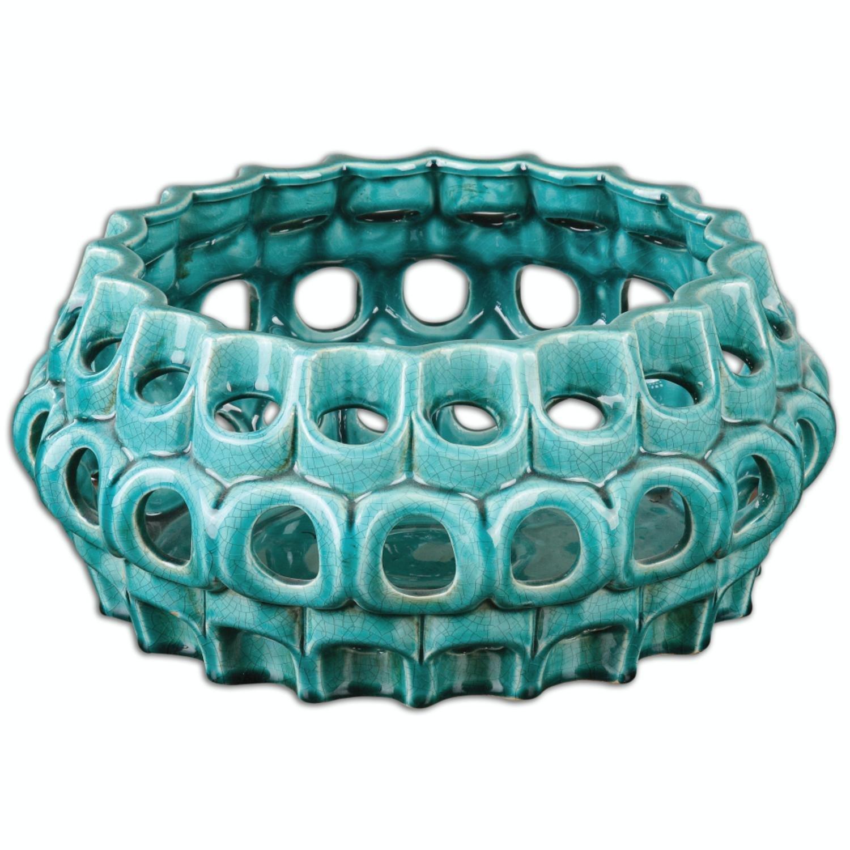 "15"" Ornate Bright Teal Blue Pierced Ceramic Bowl with Crackle Glaze Finish"