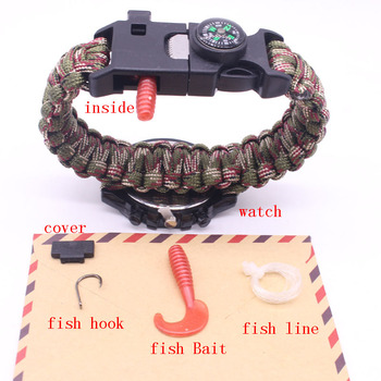 Hot Survival Paracord Bracelet Compass Fire Starter Prepper Camping Watch fish Kits