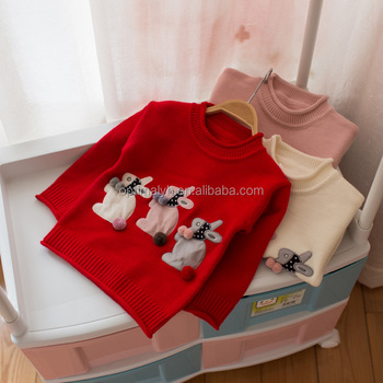 07fe71f5763b Autumn New Baby Bunny Sweaters Cotton Pullover Kids Girls Knitted ...