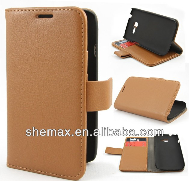 Litchi Leather Flip Holder Case Cover for Samsung Galaxy Star Pro S7260 S7262
