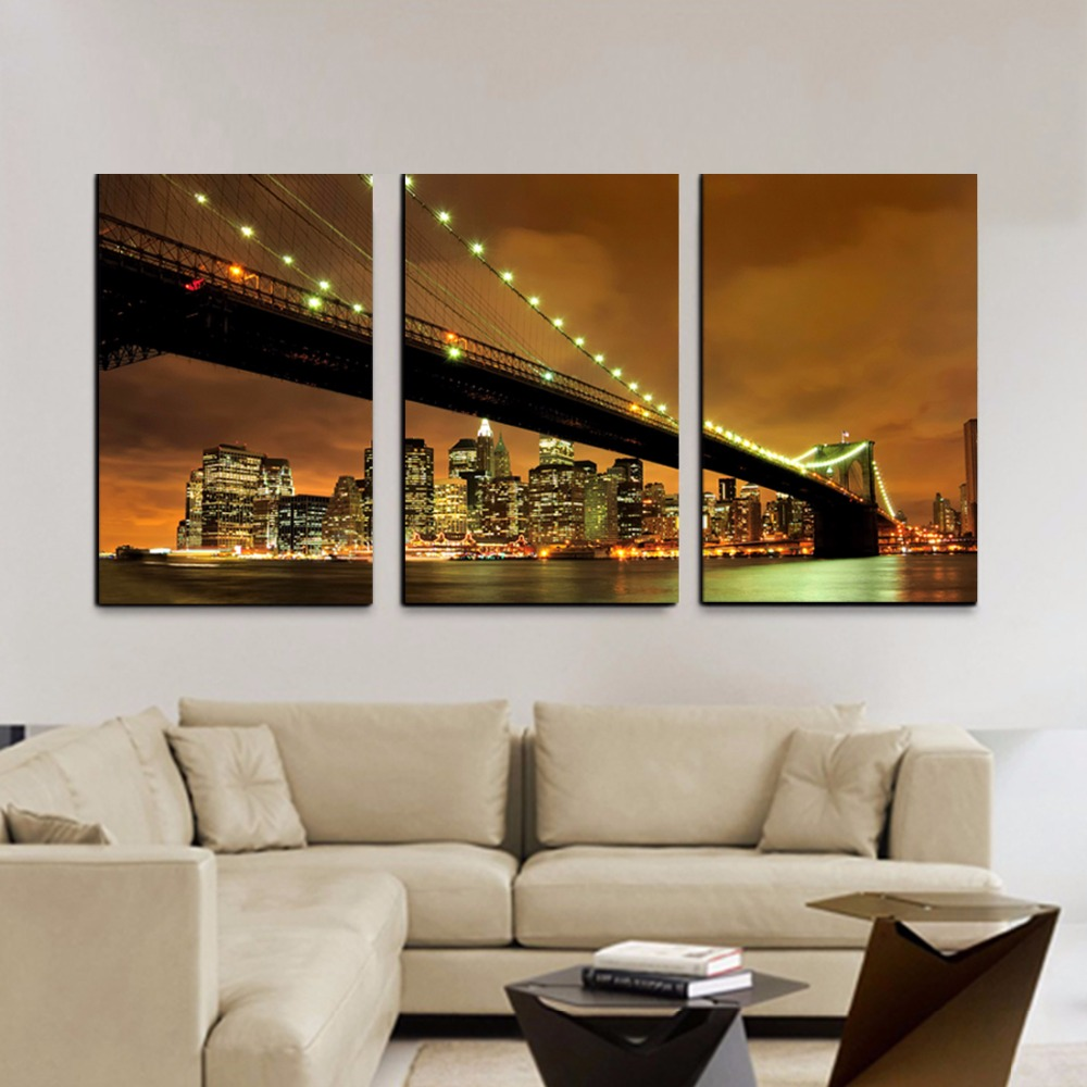 3Pcs/Set New York City Canvas Painting Wall Pictures For