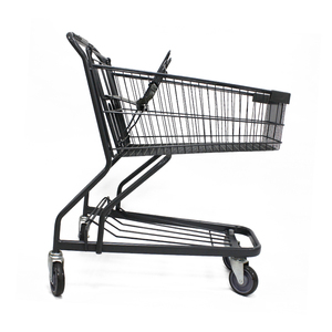 Wholesale supermarket metal shopping cart with supermarket trolleys for sale four PU wheels