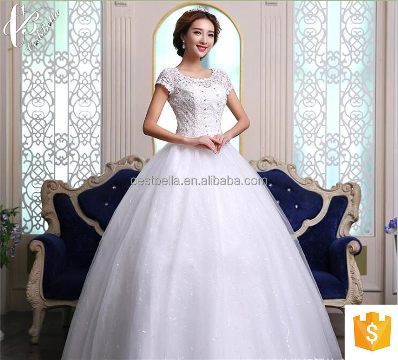 Suzhou factory wholesales cap sleeve ball gown princess wedding dress
