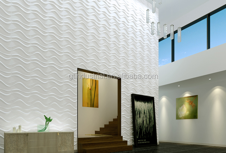 Fashionable Design Golden Color 3d Office Wall Panel Texture Interior Panels For  N