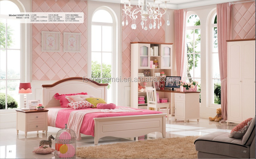Simple European Design Kids Home Furniture Children Bedroom Sets