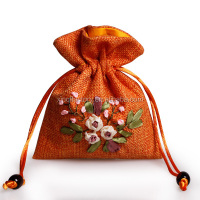 small jute drawstring gift bag with embroider