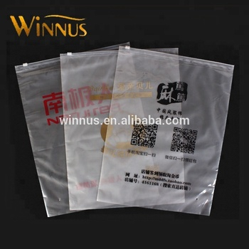 Cheap printed zipper garment shirt packaging frosted transparent slide zip lock plastic bags with own logo
