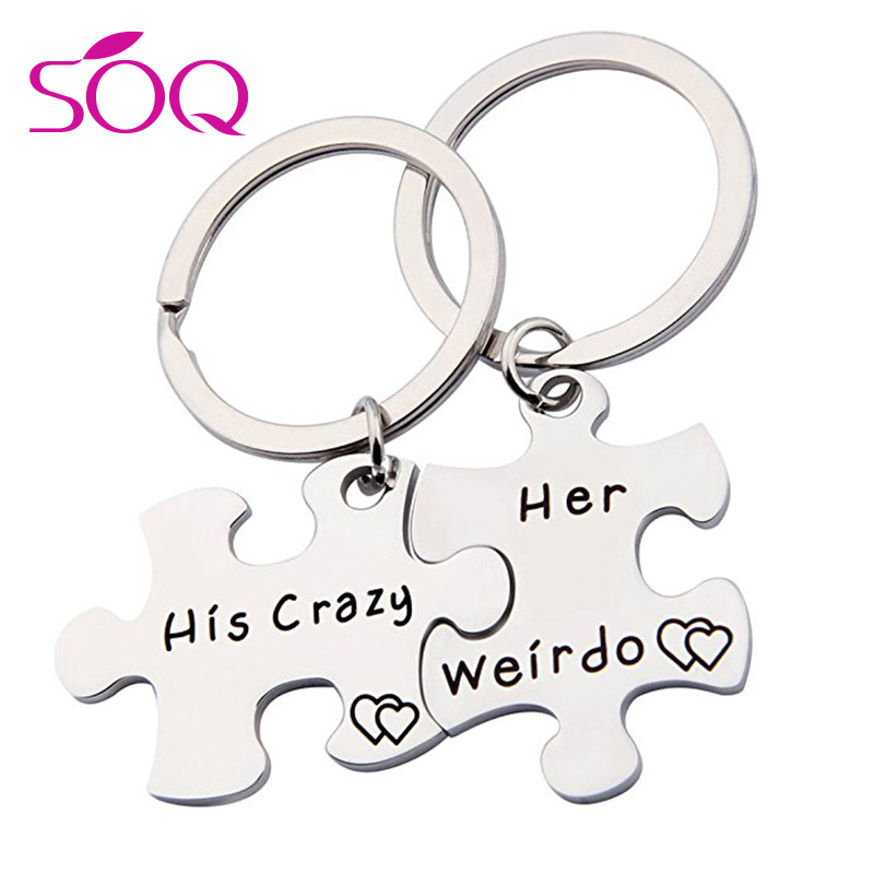 Fashion Customize Engrave Keychains Couple Crown King Queen Stainless Steel Key  Chains for Women Men 62776b3f26