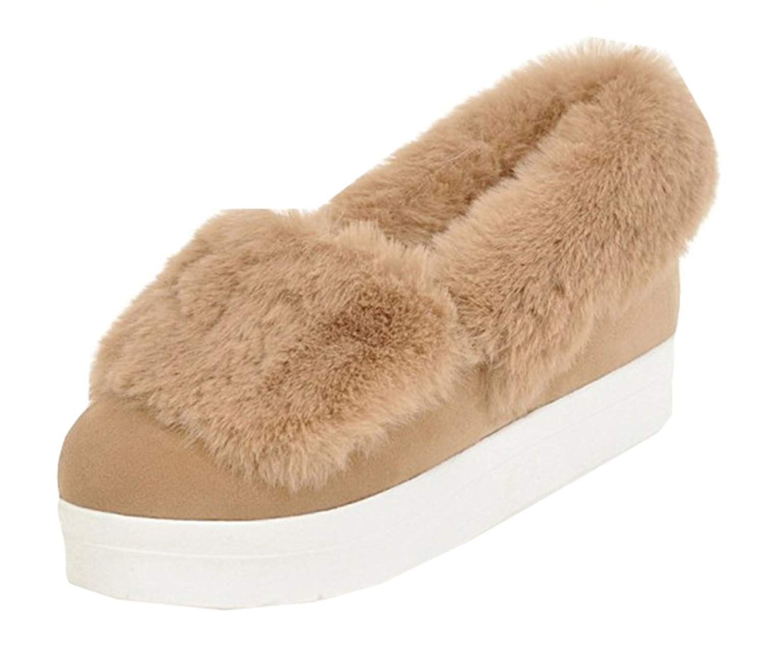 SHOWHOW Women's Simple Round Toe Fluffy Fur Faux Fur Lined Slip On Pumps