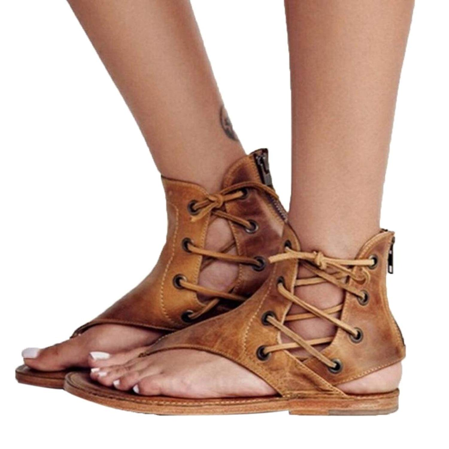 Fheaven Women Flat bottomed Roman Sandals T-Strappy Peep-Toe Sandals Ankle Strap Flat Shoes
