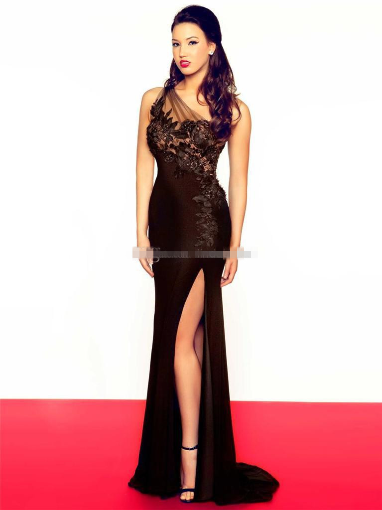 371a3539b49 Get Quotations · 2015 One Shoulder Prom Dress Special Celebrity Dresses  Black Chiffon Sheath Side Slit Party Evening Dress