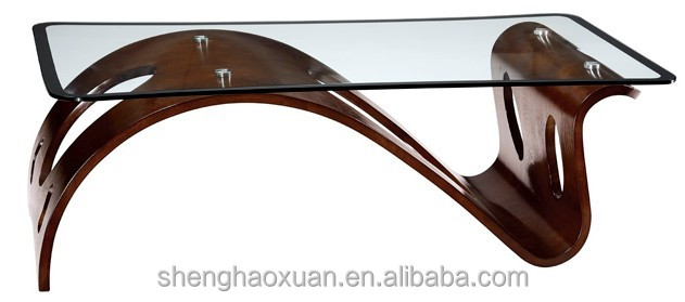 Chinese Manufactory Unique Design Tea Table Cafe Table Glass Top Wood Base  Coffee Table