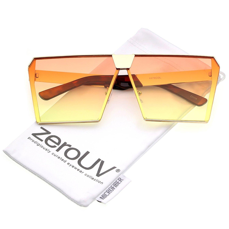 5e472cbffe zeroUV - Modern Oversize Semi Rimless Gradient Color Flat Lens Square  Sunglasses 69mm