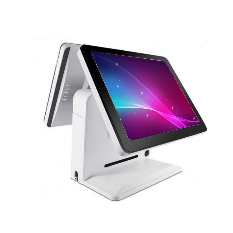 Dual screen 15 inch pos system touch screen monitor for Cinema ticket lobby