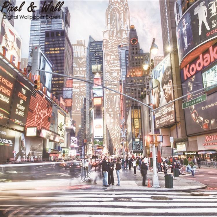 Times Squaremural De La Pared De Sala De Tv De La Pared