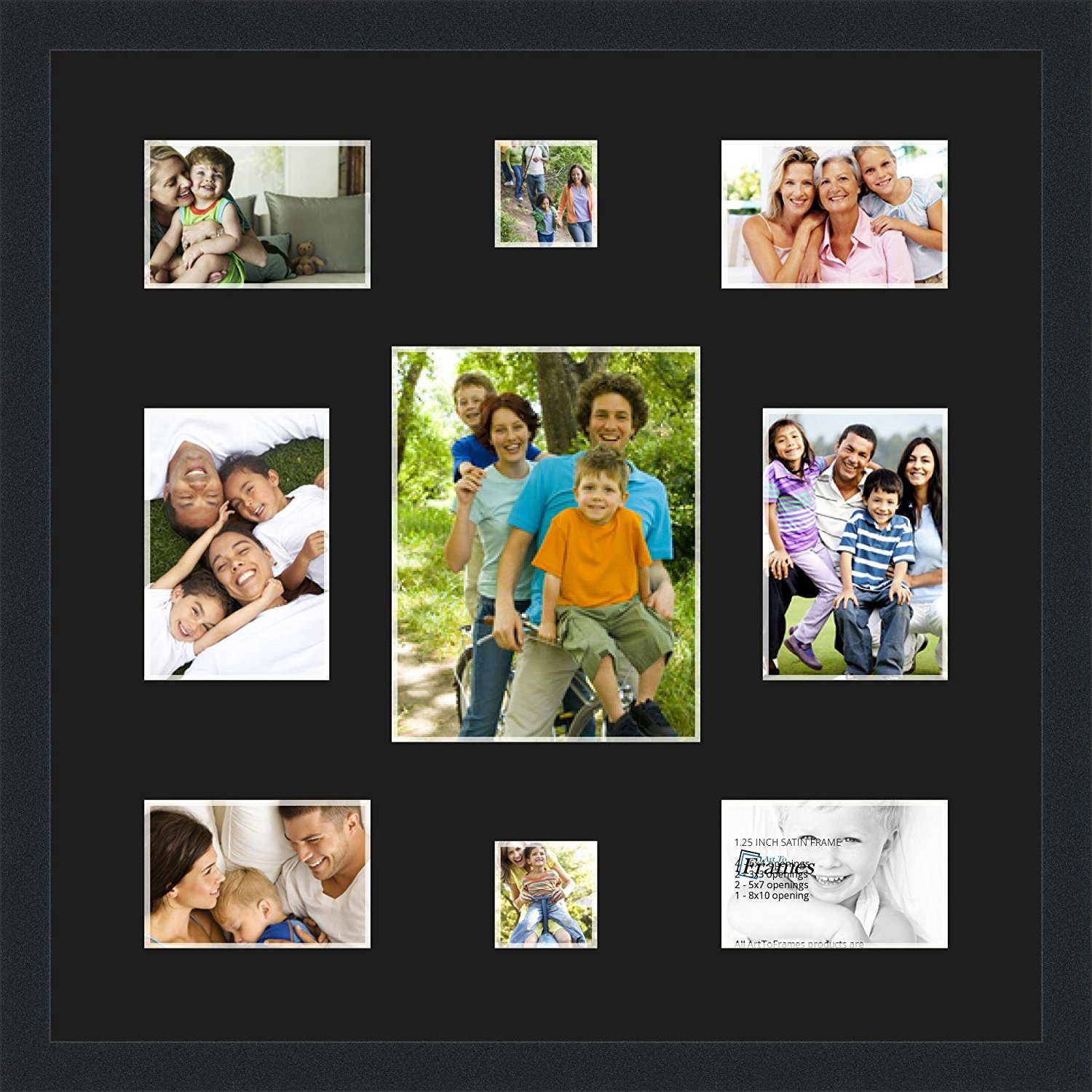 Art to Frames Double-Multimat-409-89/89-FRBW26079 Collage Photo Frame Double Mat with 1 - 8x10 and 2 - 5x7, 3x3 and 4 - 4x6 Openings and Satin Black Frame