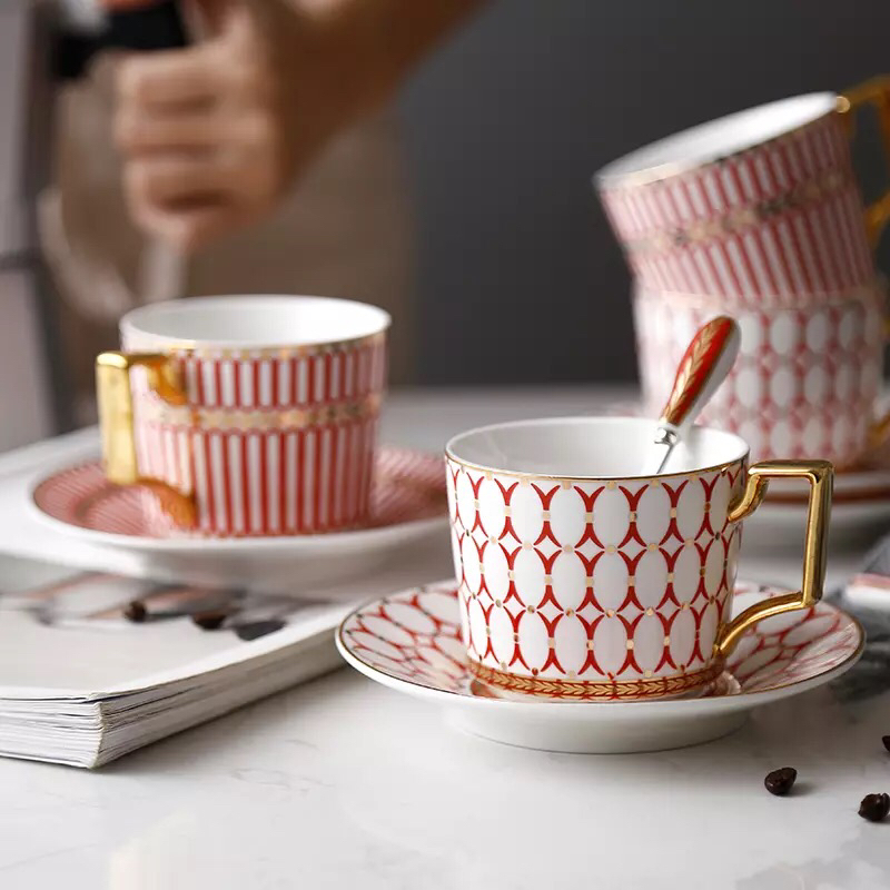 Französisch geometrie design moderne personalisierte groß billig tee kaffee tasse und untertasse mit löffel