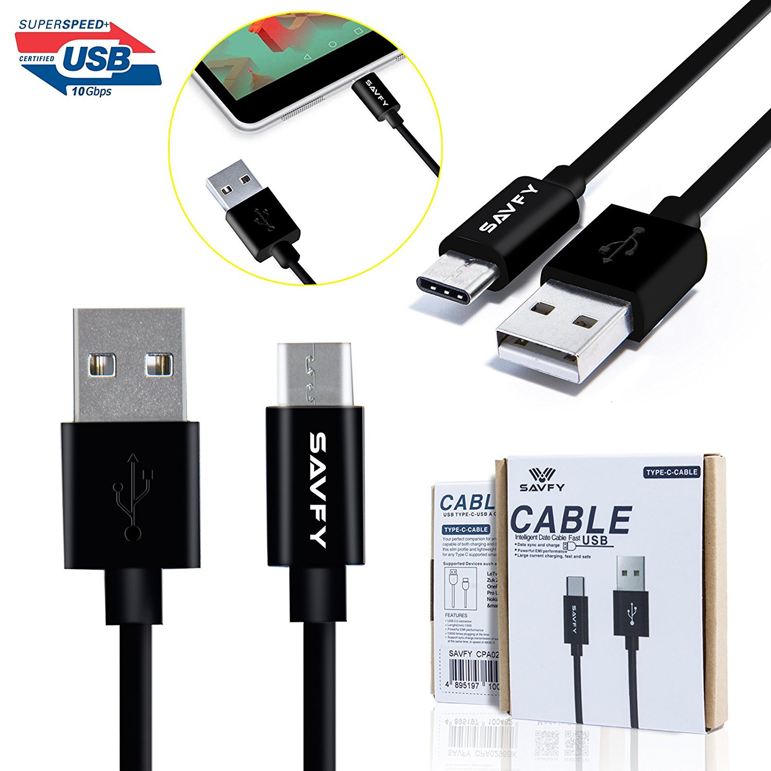 USB Type C Cable, SAVFY Type C to Type A [USB-C to USB-A] Data Charging Cable for Nexus 6P, Nexus 5X, Oneplus 2, MacBook, ChromeBook Pixel and More USB C Charger Devices