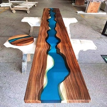 Epoxy kunst nussbaum holz <span class=keywords><strong>tisch</strong></span> top mit blau fluss linie runde harz kaffee <span class=keywords><strong>tisch</strong></span>