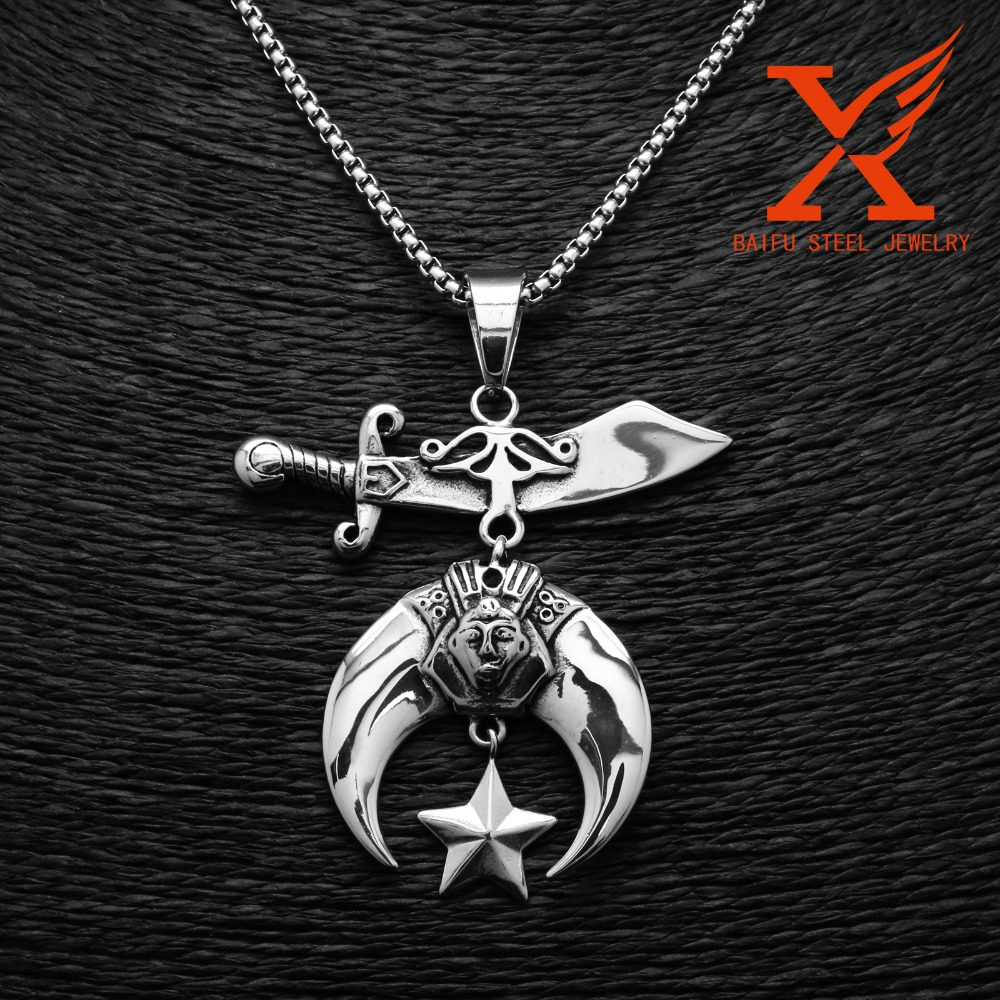 STAINLESS STEEL SILVER MEN'S SHRINER/MASONIC HEAVY DUTY THICK BAND BRAND NEW SHRINER PENDANT