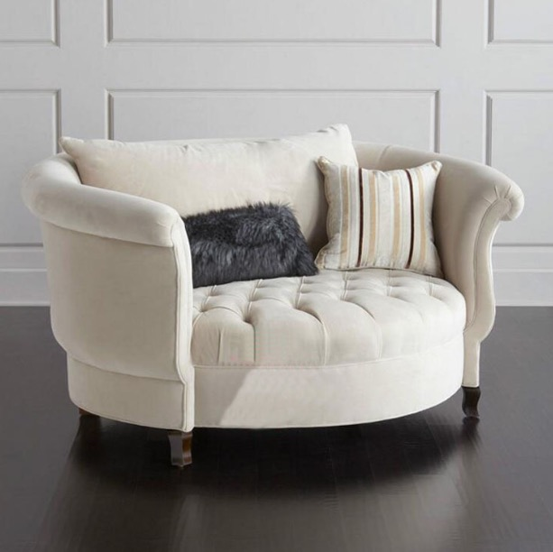 Large Saucer Moon Chair In Living Room Alfred Tufted Seats