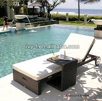 Resort Gartenmöbel Rattan Liege Mit Beistelltisch Schwimmbad Möbel  Großhandel