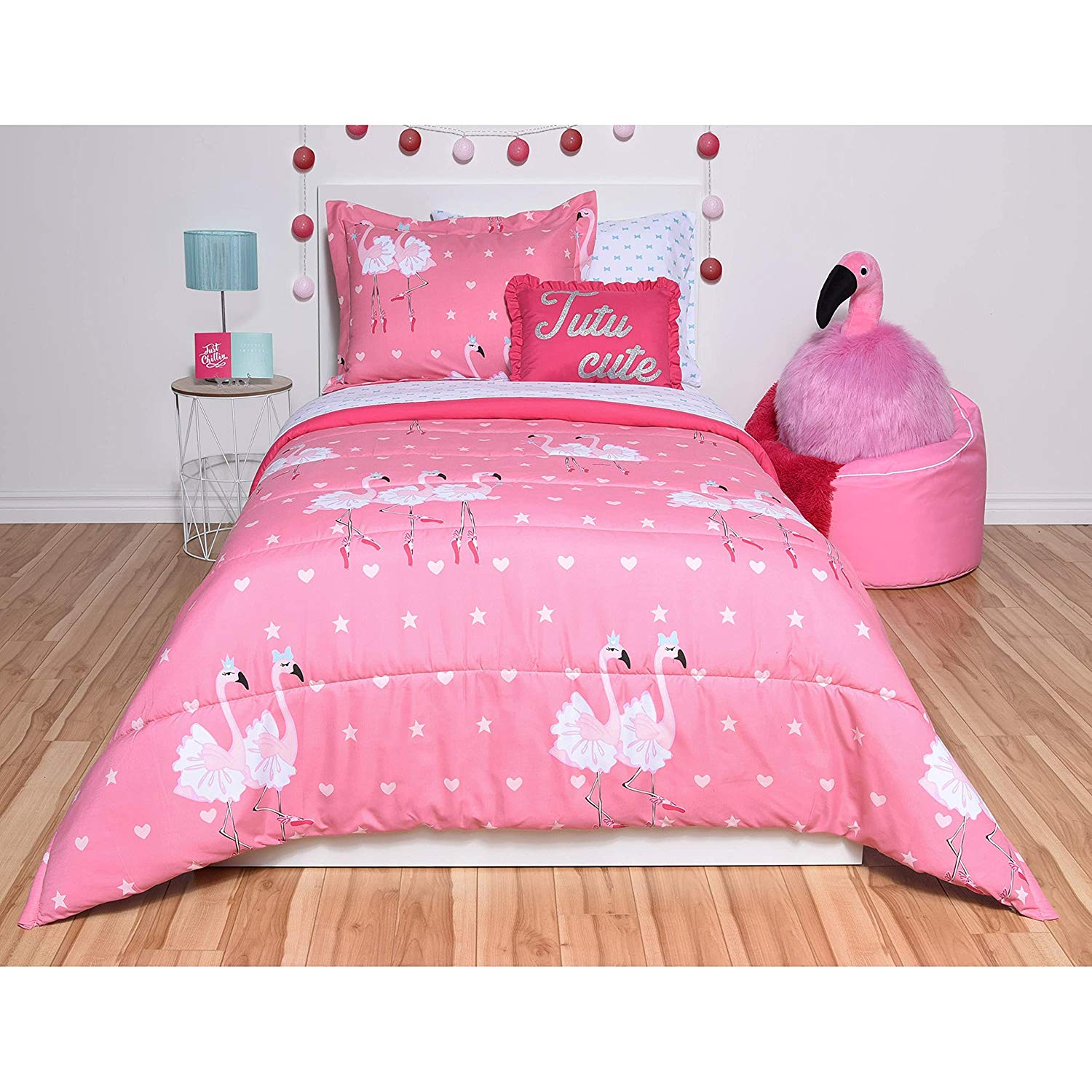 5 Piece Pink Flamingo Theme Comforter Twin Set, Beautiful Cute Dancing Flamingos with Frilly White Tutus & Ballet Shoes, Boho Chic Hearts & Stars Print Background, Plush Microfiber, For Girls/Teens