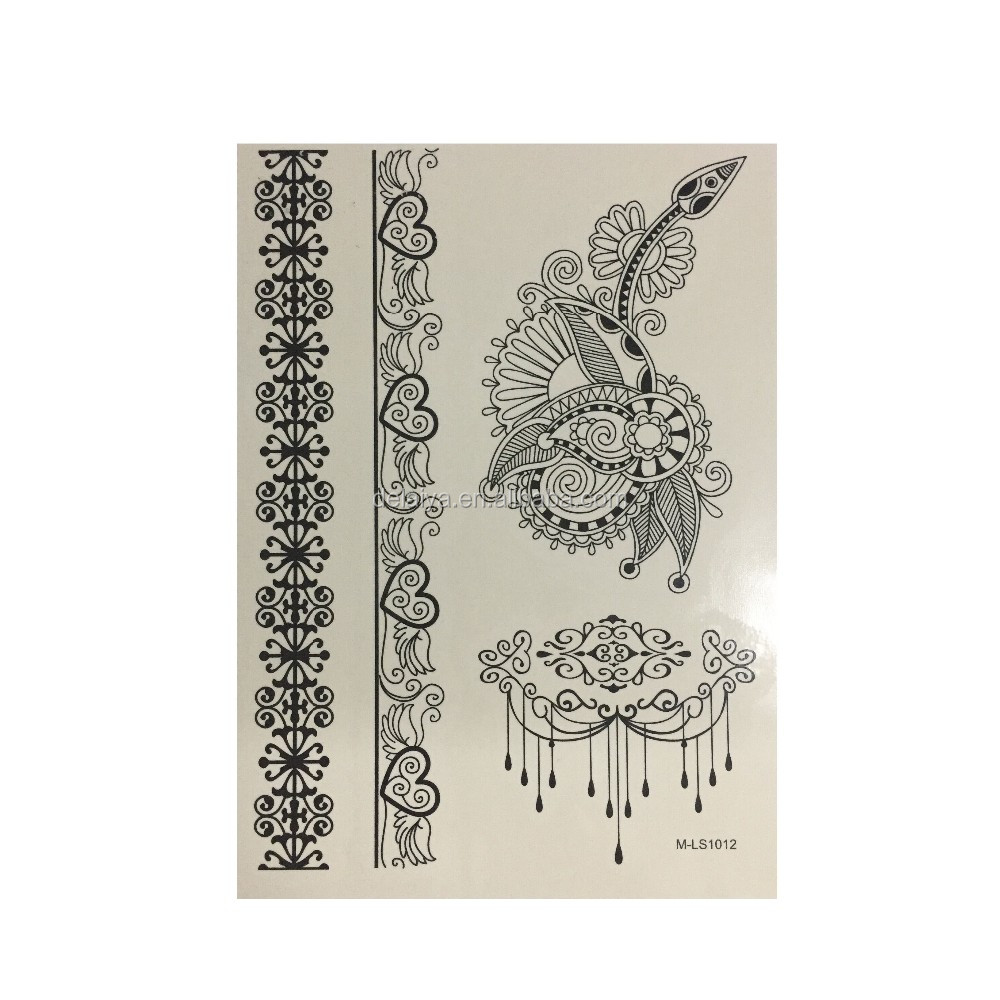 Henna Body Tattoo Henna hand Tattoo Sticker Zwarte Henna Tattoo